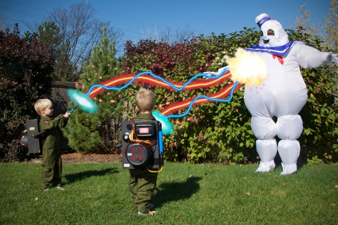 DIY Dollar Store Proton Pack for Twin Toddlers' Ghostbusters Halloween Costume