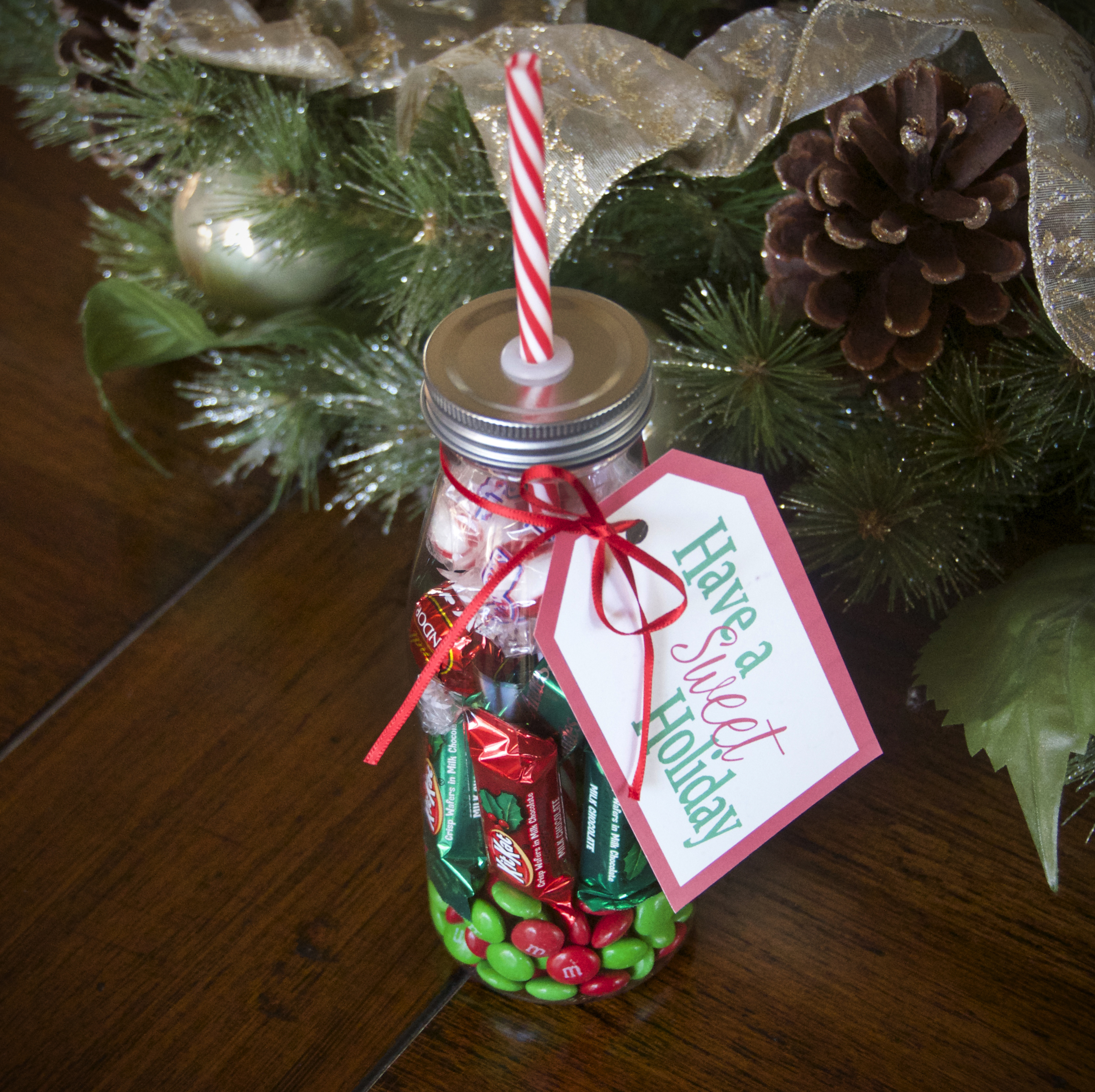 diy milk bottle holiday candy gift