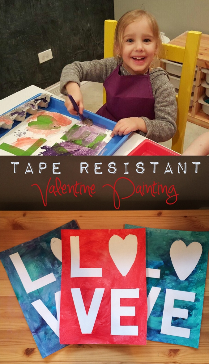 Tape Resistant Valentine Painting - Projects In Parenting