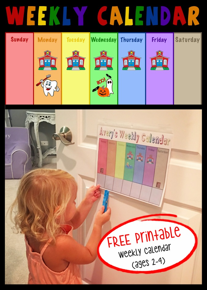 FREE Printable Toddler Weekly Calendar - projectsinparenting