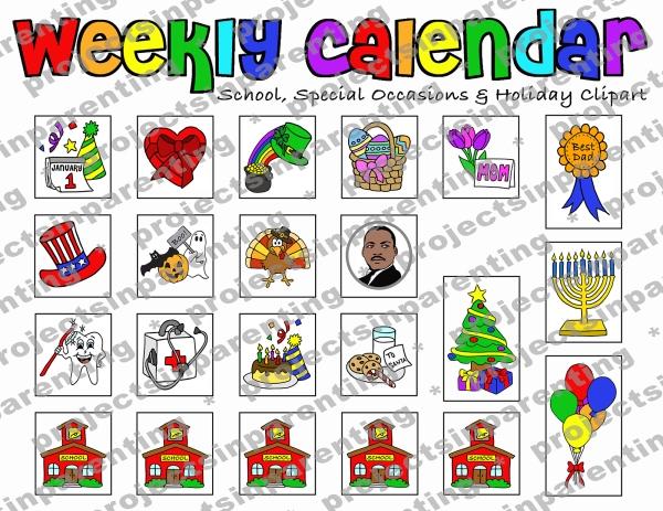 Weekly Calendar Clipart - Thumbnail