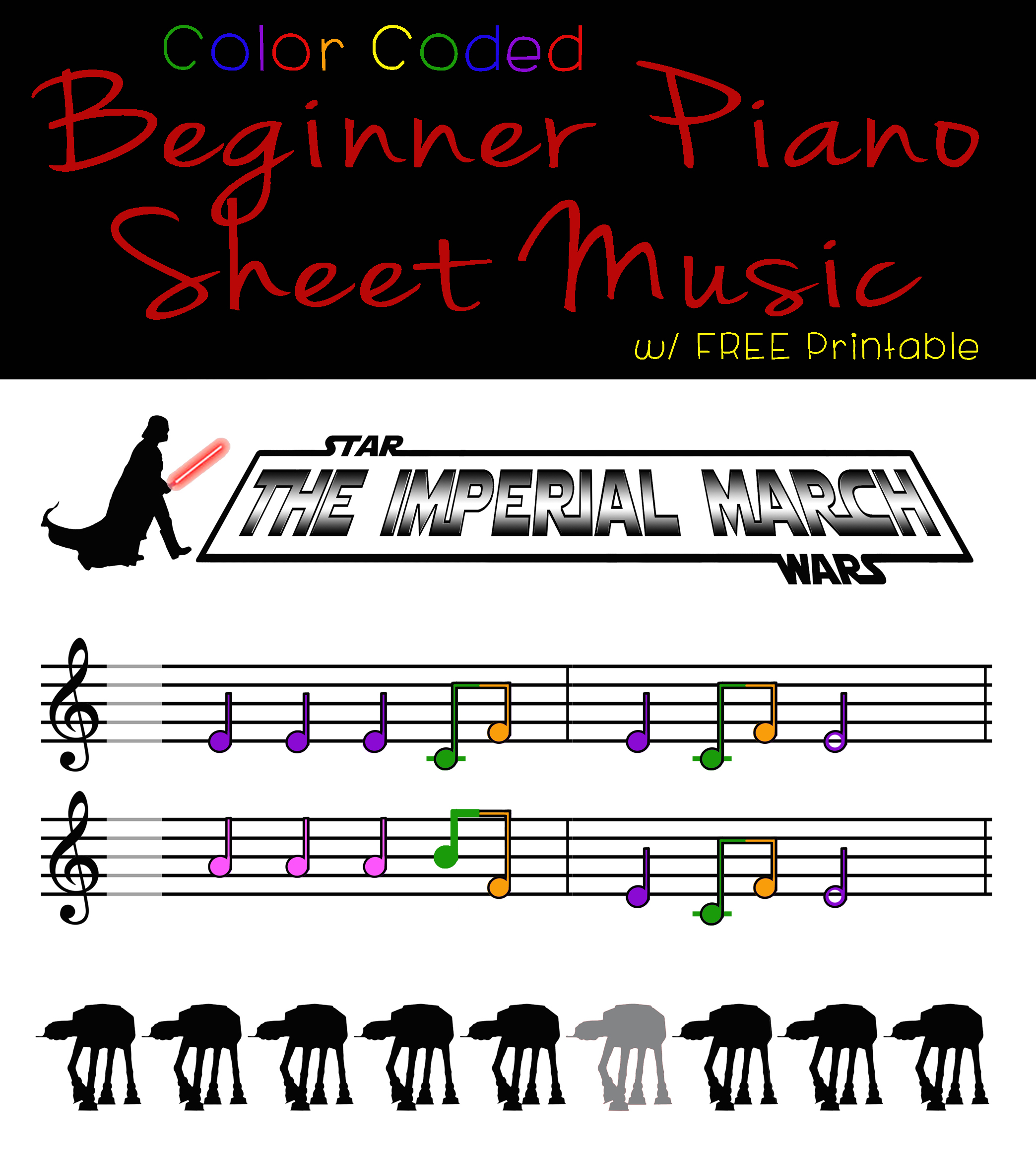 Color-Coded Beginner Piano Sheet Music for Kids - Star Wars The Imperial March - projectsinparenting.com