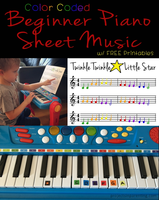 Piano sheet music for beginners piano : Color-Coded Beginner Piano Sheet Music | Projects In Parenting