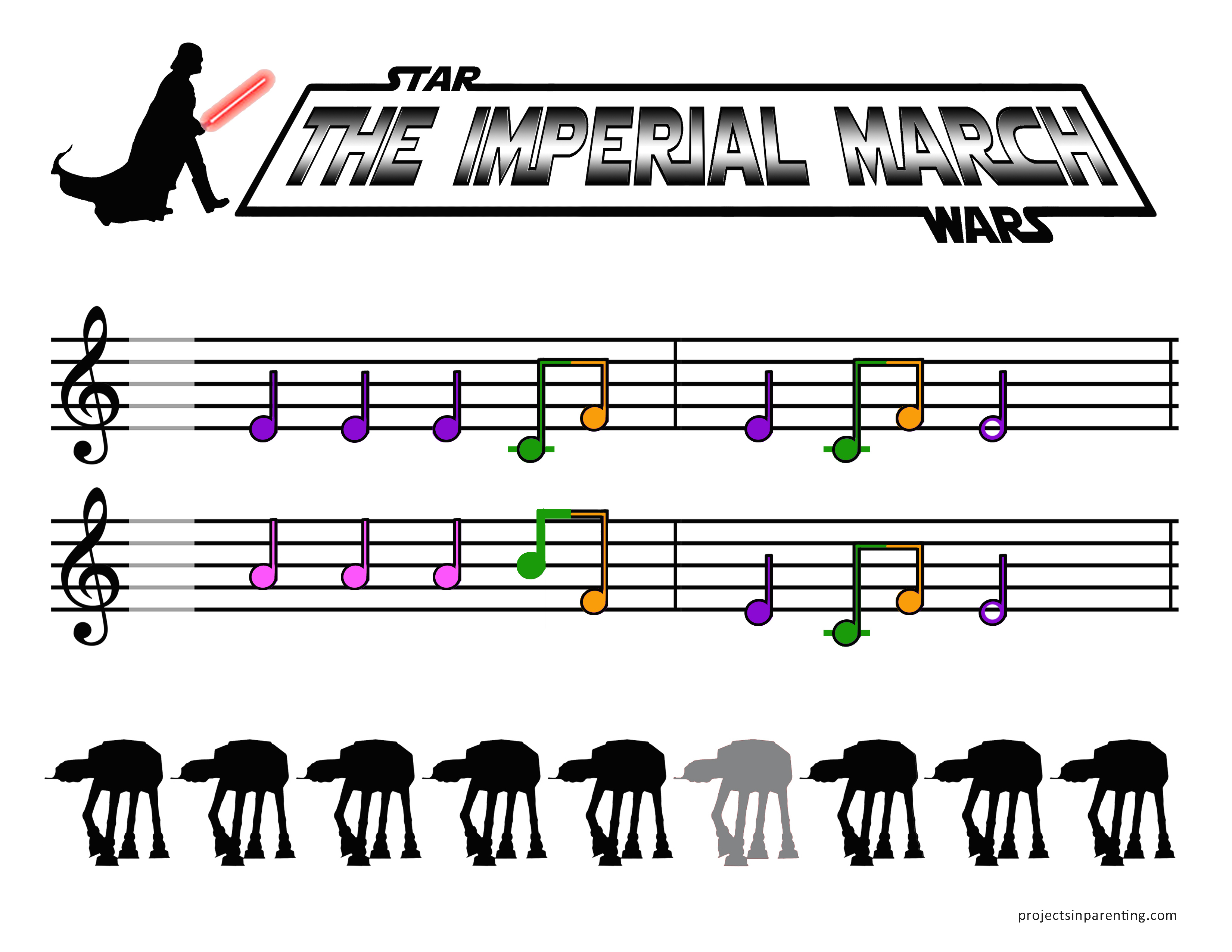 Star Wars - The Imperial March Color-Coded Beginner Piano Sheet Music - projectsinparenting.com