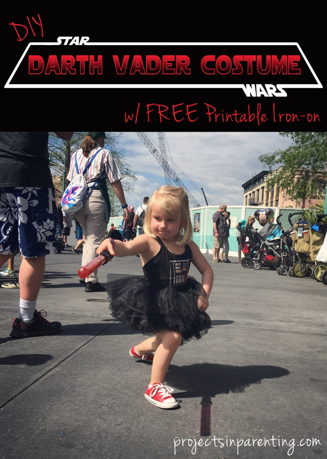 DIY Darth Vader Star Wars Costume for Girls with Free printable chest plate iron-on - projectsinparenting.com
