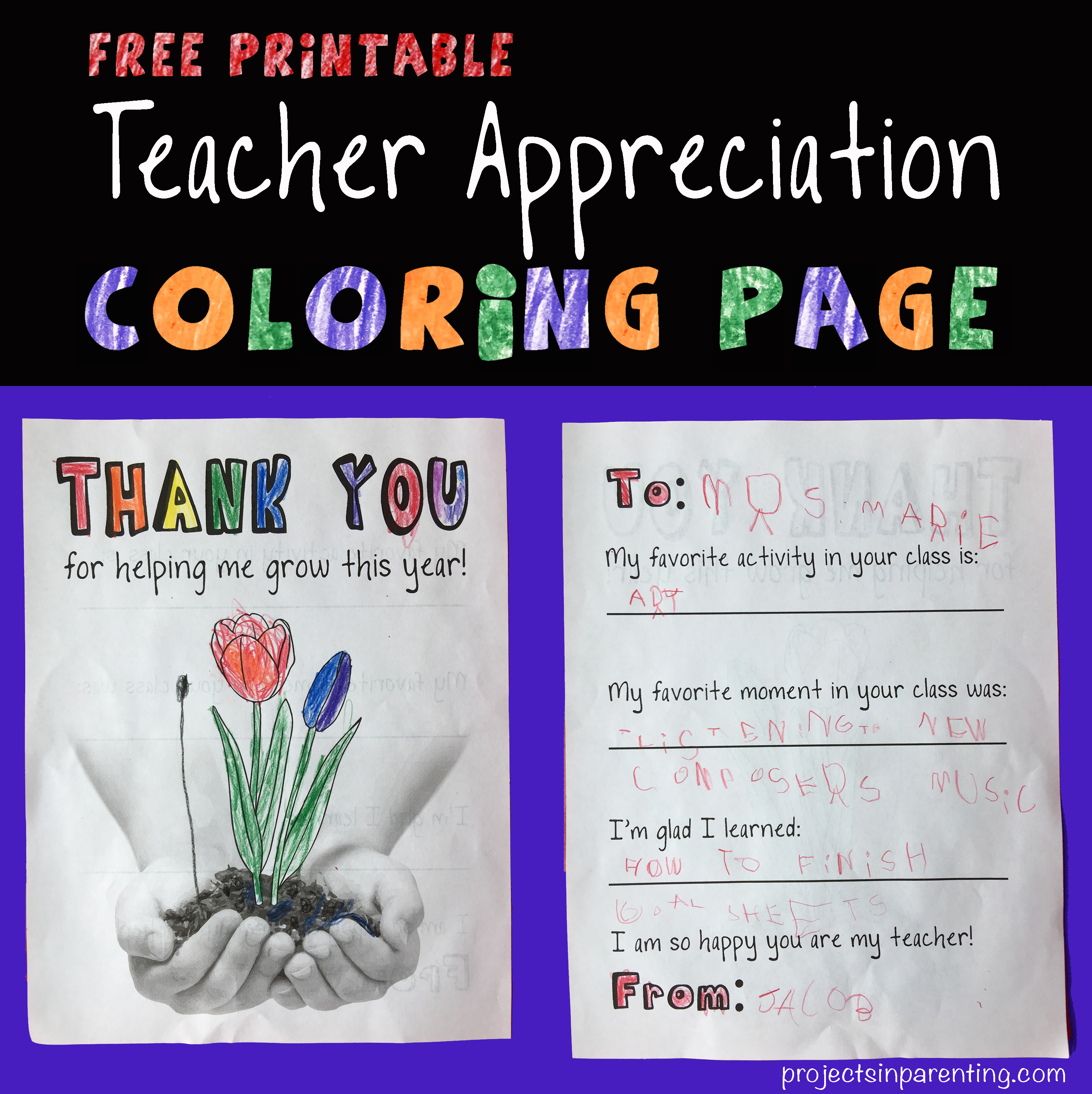 graphic about Thank You for Helping Me Grow Free Printable called Instructor Appreciation Coloring Website page Initiatives Within Parenting