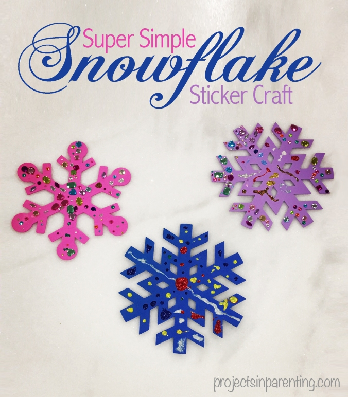 Super Simple Snowflake Sticker Craft - projectsinparenting.com