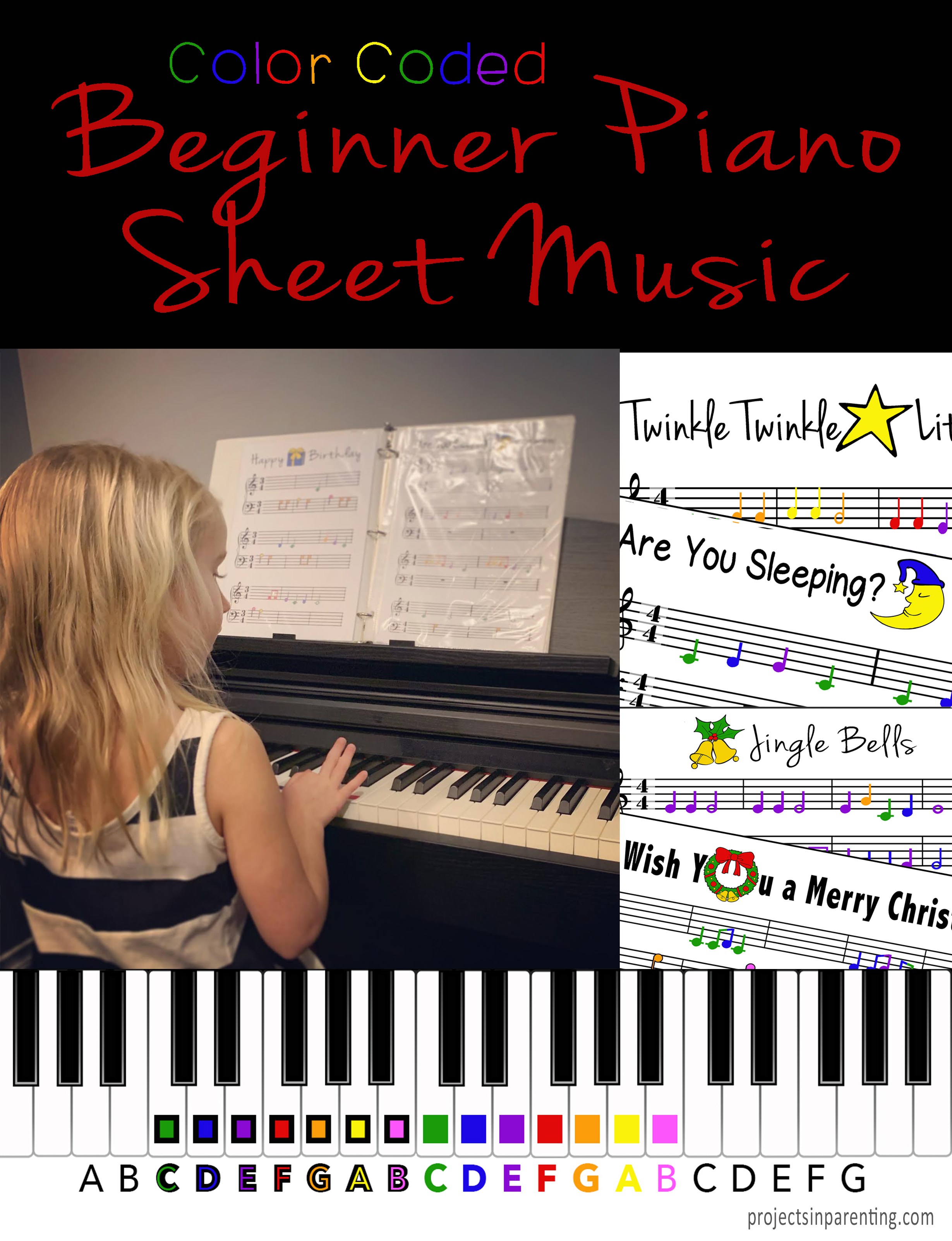 Color-Coded Beginner Piano Music Book Banner