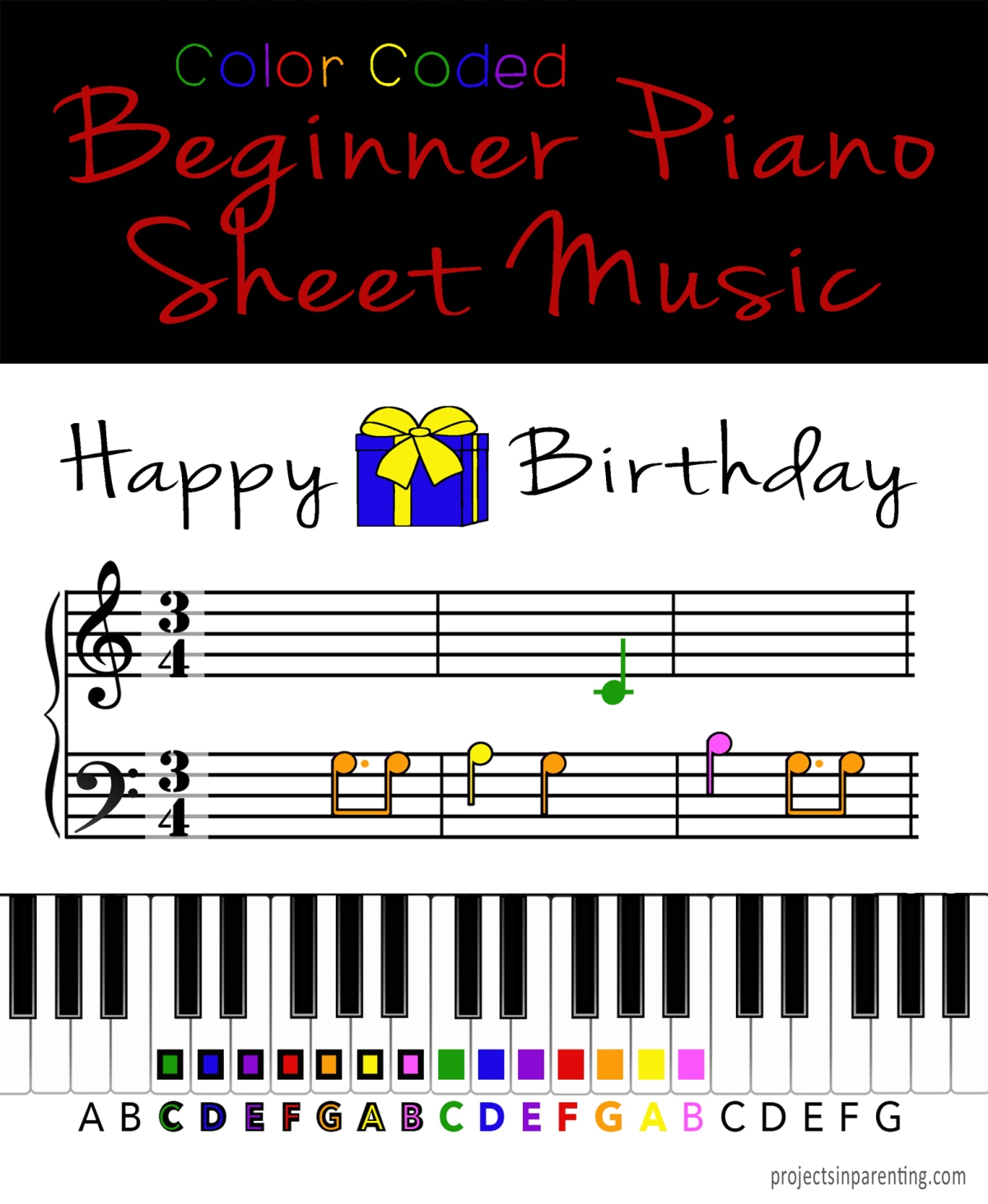 Color-Coded Beginner Piano Music Book | Projects In Parenting