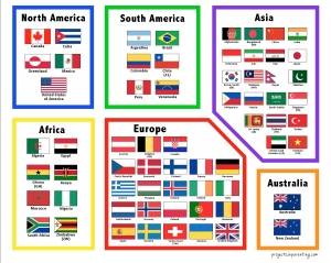 Hands-on Learning - Color Coded Continents, Countries and Flags - projectsinparenting.com