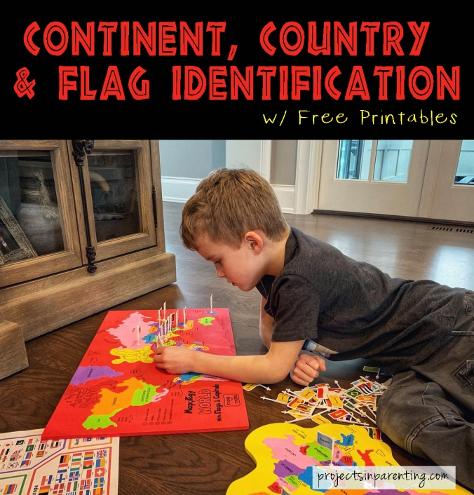 Color Coded Continents Countries and Flags Puzzle Identification - Hands on Learning - projectsinparenting.com