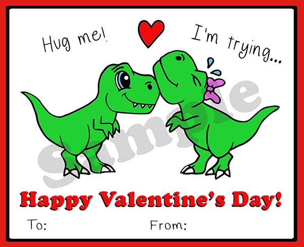 Dinosaur t-rex valentine printable - Valentine's Day Card