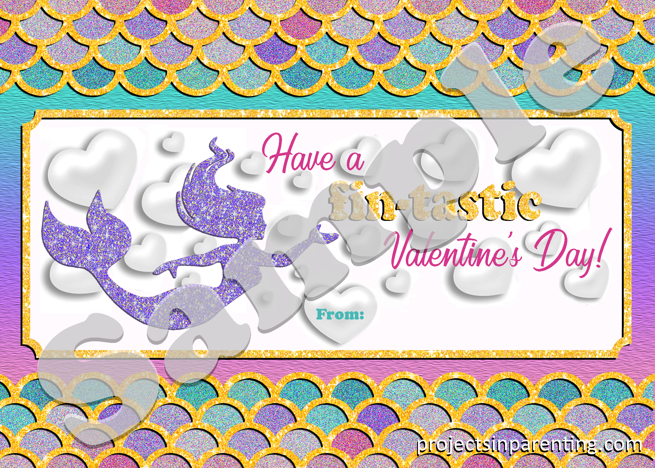 Mermaid Valent's Day Printable Card - projectsinparenting.com