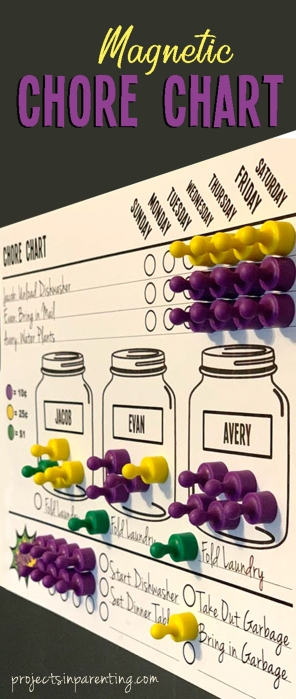 DIY Magnetic Daily and Weekly Chore Chart - projectsinparenting.com